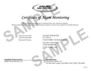 Certificate of Alarm Monitoring Sample